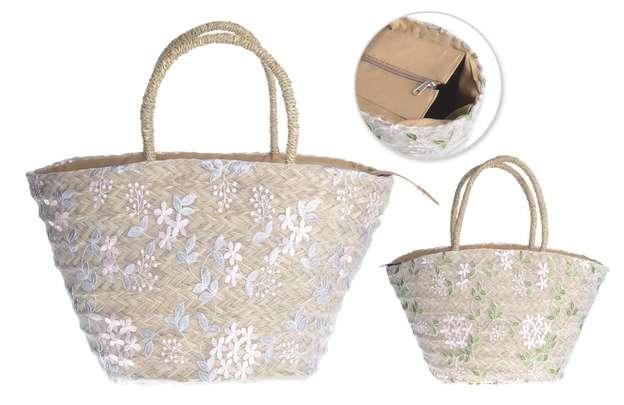 Shopper Korb m. weißer Tüllspitze : Ladentaschen einkaufstaschen