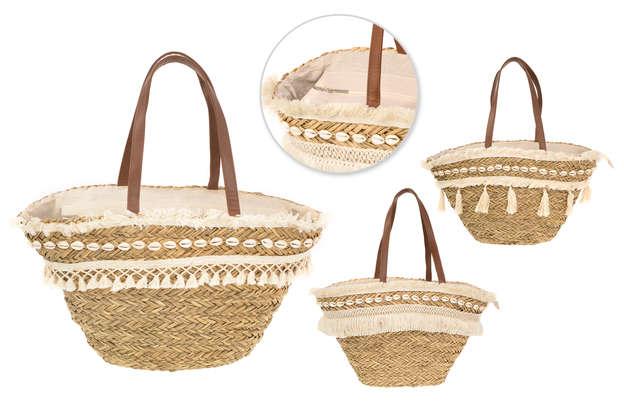 3er- Shopper Korb Baumwolle m. Muscheln : Ladentaschen einkaufstaschen