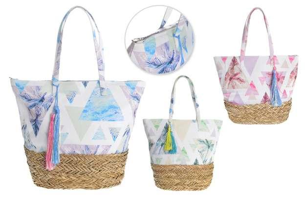 3er-Handtasche Baumwolle Stroh m. Bommeln : Ladentaschen einkaufstaschen modetaschen