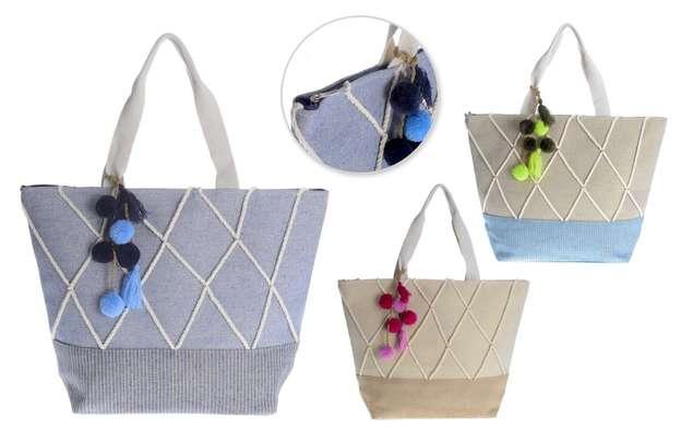 3er-Handtasche Baumwolle m. Bommeln : Ladentaschen einkaufstaschen modetaschen
