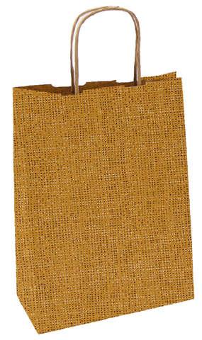 Papiertasche braun bedruckt 'Jutefasern' : Ladentaschen einkaufstaschen