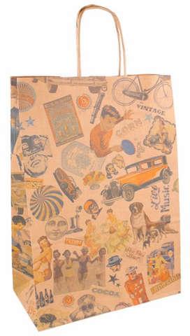 Papiertasche braun bedruckt mit Pappkordeln : Ladentaschen einkaufstaschen