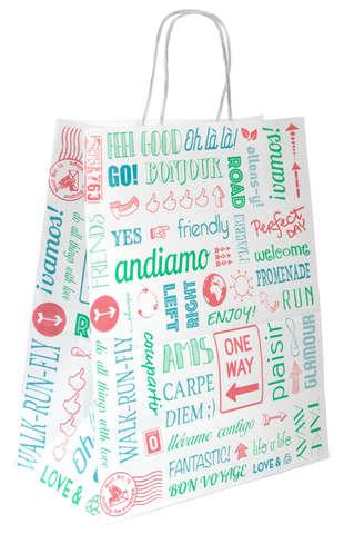 Papiertasche weiß bedruckt mit Pappkordeln : Ladentaschen einkaufstaschen
