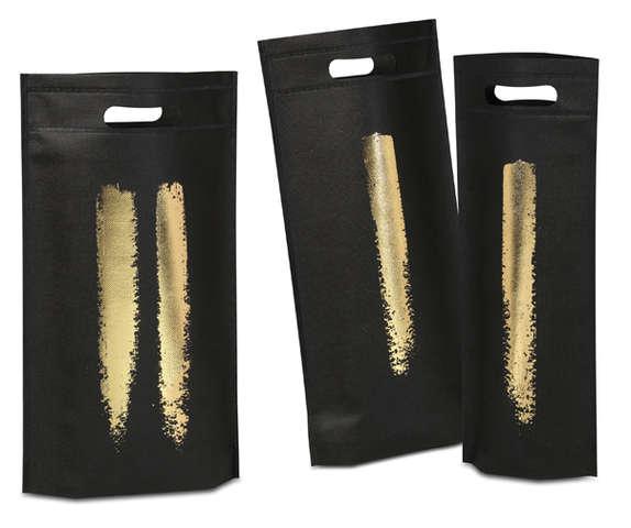 Flaschentasche Vlies schwarz-gold Design : Verpackung fur flaschen und regionalprodukte