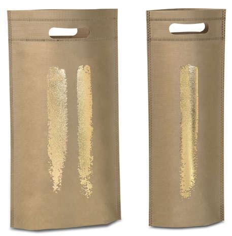 Flaschentasche Vlies beige-gold Design : Verpackung fur flaschen und regionalprodukte
