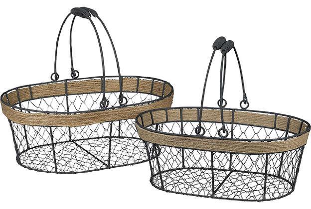 Drahtkorb schwarz oval m. Henkeln : Korb geschenkkorb präsentierungskorb