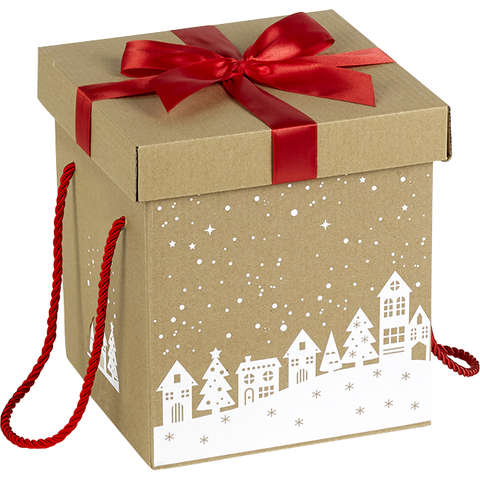 Geschenkschachtel Kraft 'Schnee' m. Schleife : Geschenkschachtel präsentbox