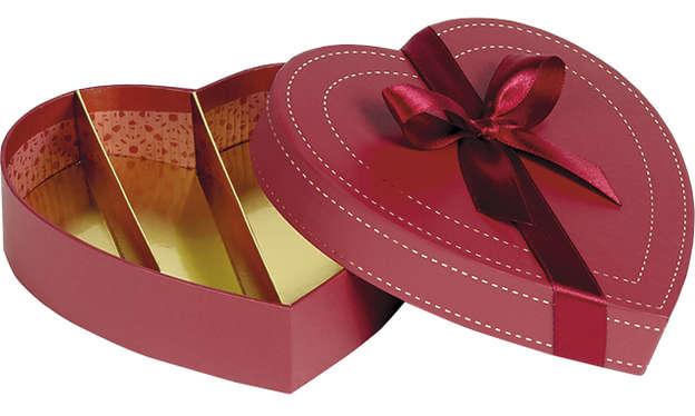 Pralinenschachtel HERZ 4 Reihen : Geschenkschachtel präsentbox
