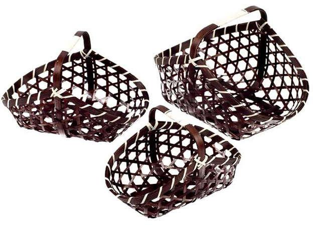 Flechtkörbchen oval Spaltbambus braun : Korb geschenkkorb