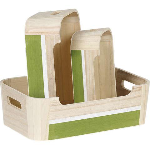 Holzkörbchen 4eckig naturhell+grün : Korb geschenkkorb präsentierungskorb