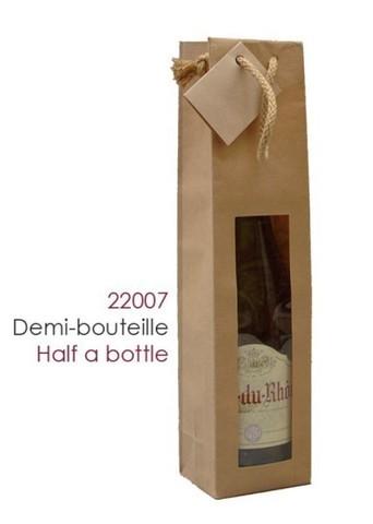 Flaschetasche Kraft 1-Flasche 37,5/50 cl m. Fenster : Verpackung fur flaschen und regionalprodukte
