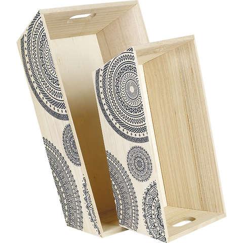 Präsentierungstablett 4eckig Holz 'Mandala' : Korb geschenkkorb präsentierungskorb