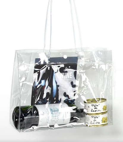 Geschenktasche PVC transparent m. Kordeln : Verpackung fur flaschen und regionalprodukte