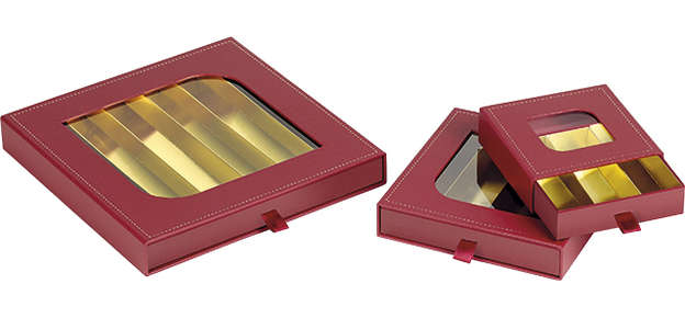 Pralinenschachtel 4eckig Pappe m. Deckel PVC : Geschenkschachtel präsentbox