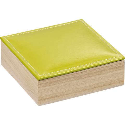 Pralinenschachtel 4eckig Holz m. DeckelKunstleder: 3 Reihen : Geschenkschachtel präsentbox