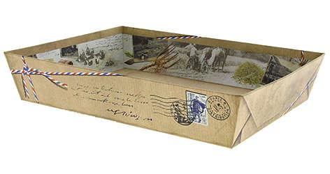Präsentierungskorb 4eckig Pappe 'Cottage' : Korb geschenkkorb präsentierungskorb