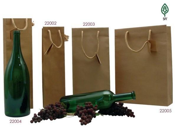 Flaschentasche Kraft naturbraun 'France Nature' : Verpackung fur flaschen und regionalprodukte