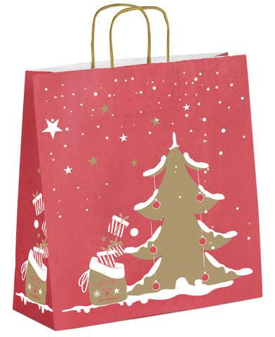 Krafttasche gold/ rot 'weißer Tannenbaum' : Ladentaschen einkaufstaschen