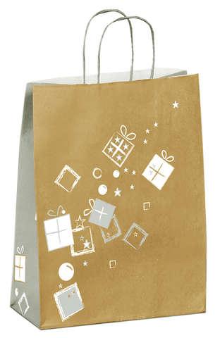 Krafttasche gold/ silber 'Weihnachtsgeschenke' : Ladentaschen einkaufstaschen modetaschen