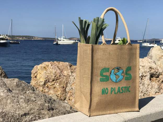 NO PLASTIC - Shopper Jute 100% biol. abbaubar : Ladentaschen einkaufstaschen modetaschen