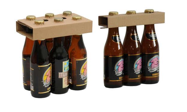 Flaschenhals-Halter Karton 3/6 Flaschen 33 cl : Verpackung fur flaschen und regionalprodukte