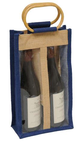 Sac jute 2 bouteilles  75 cl+ fenêtre : Verpackung fur flaschen und regionalprodukte
