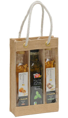 Sac toile de jute 3 bouteilles d'huile d'olives : Verpackung fur flaschen und regionalprodukte