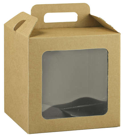 Valisette carton avec fenêtre biodégradable : Geschenkschachtel präsentbox