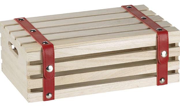 Coffret bois rectangle et lanières rouge  : Geschenkschachtel präsentbox