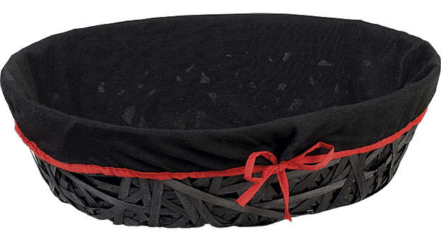 Corbeille bois ovale noire + liseré rouge : Korb geschenkkorb präsentierungskorb