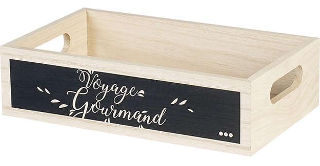 Corbeille Bois Voyage Gourmand RECTANGLE : Korb geschenkkorb