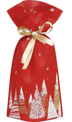 Sac / pochon intissé sapins ruban satin or : Verpackung für feste