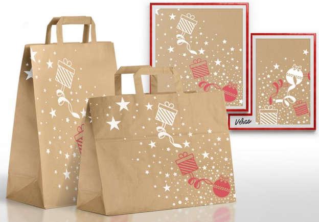 Sacs kraft brun recyclé Noël : Ladentaschen einkaufstaschen