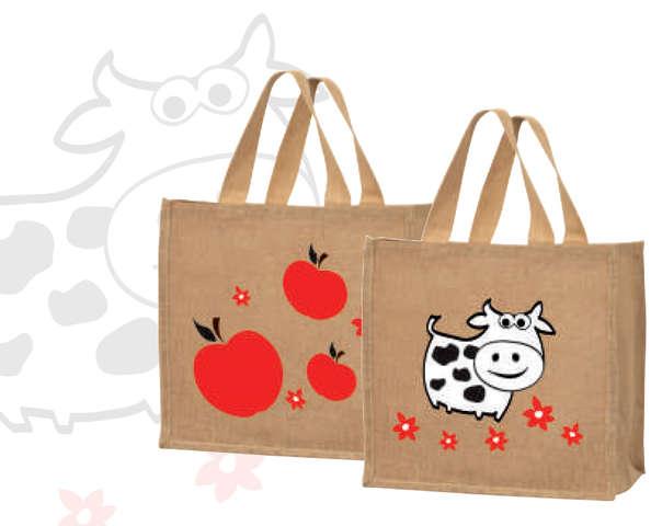 """Sacs cabas jute """"Pomme Vache"""" : Ladentaschen einkaufstaschen modetaschen"""