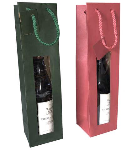 Geschenktasche Kraft rot/grün m. Fenster 1-Fl. Wein : Verpackung fur flaschen und regionalprodukte