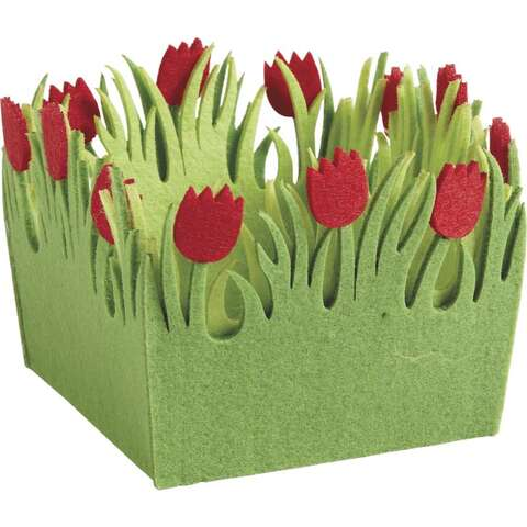Mini corbeille carrée en feutrine tulipe  : Korb geschenkkorb präsentierungskorb