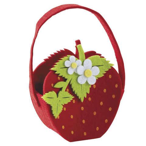Panier fraise en feutrine  : Korb geschenkkorb