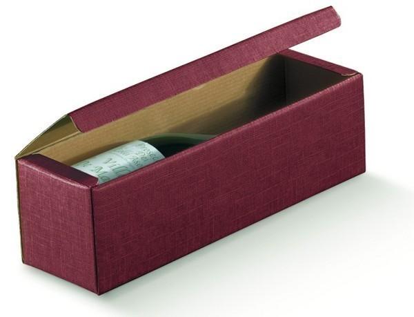 Weinkarton 1-Flasche dunkelrot 'Milano' : Verpackung fur flaschen und regionalprodukte