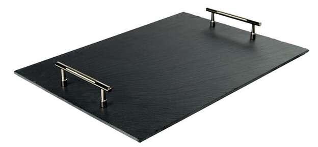 Plateau ardoise avec poignées métal : Tabletts und servierplatten