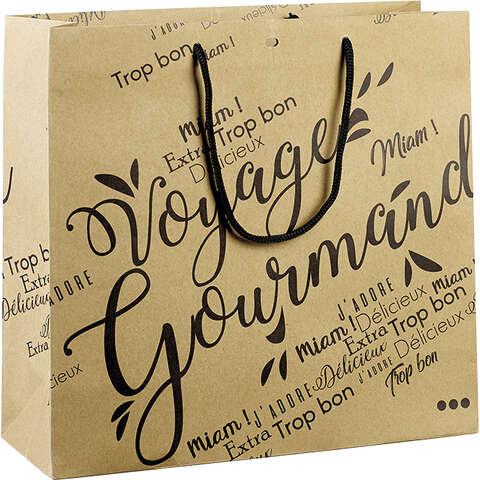 Sac papier kraft décor Voyage Gourmand noir : Ladentaschen einkaufstaschen