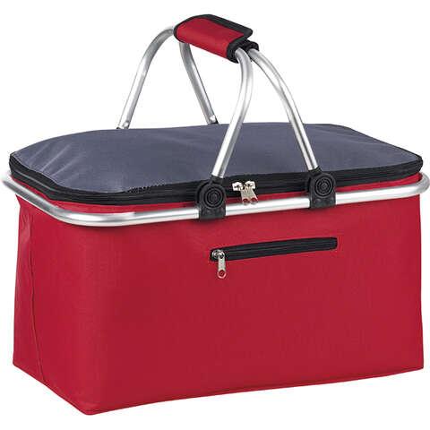 Panier isotherme rectangle gris/rouge : Ladentaschen einkaufstaschen