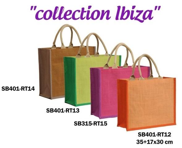 Shopper Jute IBIZA zweifarbig  35xB.15xH.30 cm : Ladentaschen einkaufstaschen modetaschen