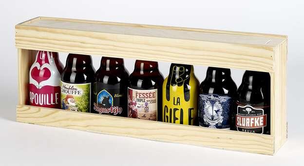Coffret bois bières Steinie : Verpackung fur flaschen und regionalprodukte
