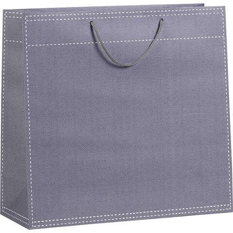 Sac papier gris poignées corde 120g / Oeillet de fermeture  : Ladentaschen einkaufstaschen