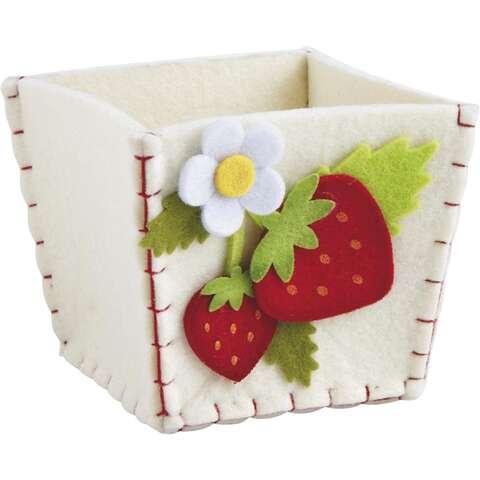 Corbeille en feutrine motif fraise  : Korb geschenkkorb präsentierungskorb