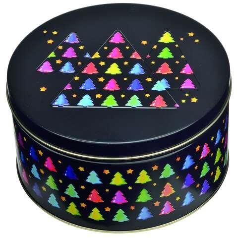 Metallbox rund 'TANNEN' mit Deckel : Geschenkschachtel präsentbox