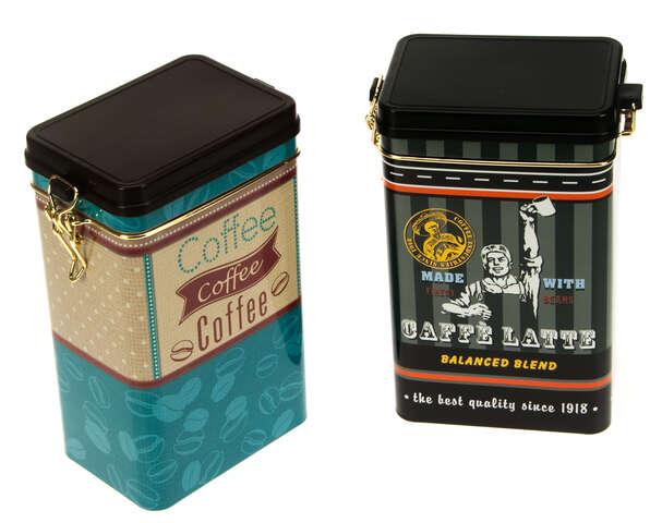 2er Pack Metallbox Kaffee 4-eckig COFFEE TIME mit Deckel : Geschenkschachtel präsentbox