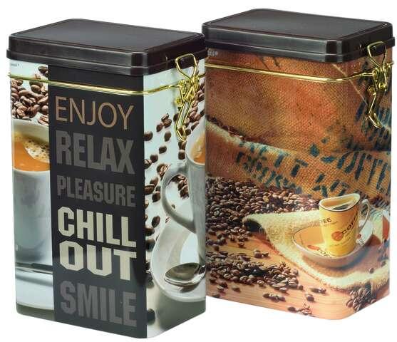 2er Pack Metallbox Kaffee 4-eckig CHILL OUT mit Deckel : Geschenkschachtel präsentbox