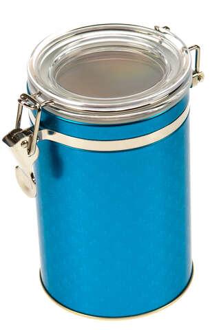 Metallbox Kaffee BLUE PETROL mit Deckel : Geschenkschachtel präsentbox