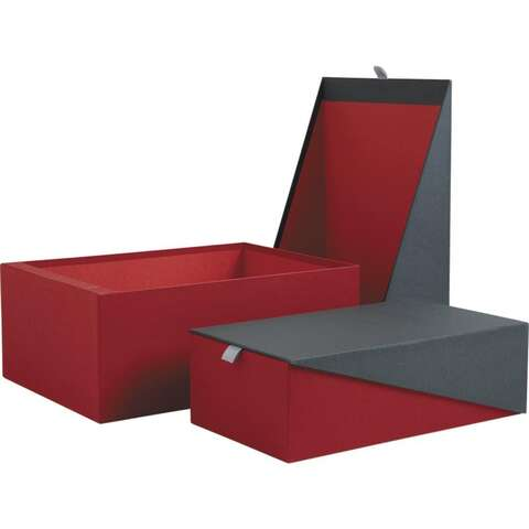 Geschenkschachtel Box rot/ dunkelgrau : Geschenkschachtel präsentbox